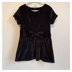 CARTER'S Black Velour Short-sleeve Dress